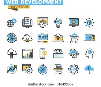 Trendy flat line icon pack for designers and developers. Icons for website and app development, programming, seo, website maintenance, online security, responsive design, cloud computing.