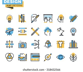 Trendy flat line icon pack. Icons for graphic design, web design, photography, industrial design, branding, corporate identity, stationary, product design, for websites and mobile websites and apps.