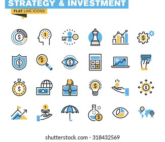 Trendy flat line icon pack for designers and developers. Icons for strategy, investment, finance, banking, insurance, funding and payment, for websites and mobile websites and apps.