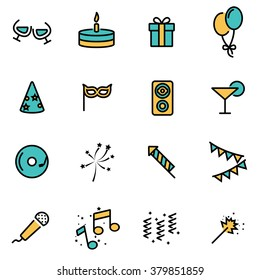 Trendy flat line icon pack for designers and developers. Vector line party set