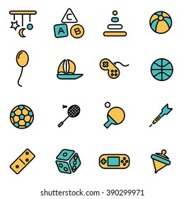 Trendy flat line icon pack for designers and developers. Vector line toys icon set