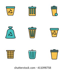 Trendy flat line icon pack for designers and developers. Vector line trash can icon set