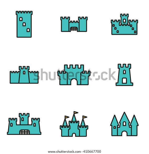 Trendy flat line icon pack for designers and developers. Vector line castle icon set
