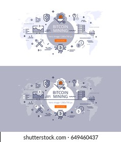 Trendy flat linear vector banner set of bitcoin mining. Hero image for financial technology and bitcoin related sites, web pages, landing pages. Two banners on light blue and white backgrounds