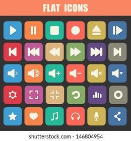 Trendy Flat Media Player Icons Set. Multimedia. Vector
