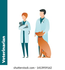 Trendy flat medical character vector cartoon illustration. Set of male and female veterinarian doctor team isolated on white background. Coat uniform, stethoscope, sitting dog and cat. Vet clinic.