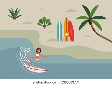 Trendy flat style illustration on young adult woman riding surfboard along the coast. Summer lifestyle minimal background with abstract beach, palm tree, surfboards and female surfer