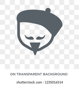 Trendy flat vector Man face with beret and goatee icon on transparent background from People collection. High quality filled Man face with beret and goatee symbol