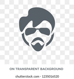 Trendy flat vector Man face with glasses and goatee icon on transparent background from People collection. High quality filled Man face with glasses and goatee
