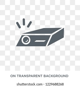Trendy flat vector slide projector icon on transparent background from Cinema collection. High quality filled slide projector symbol use for web and mobile