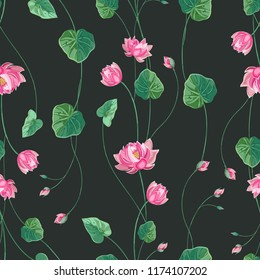 Trendy floral background with lotus flower and green leaves in hand drawn style. Blooming botanical motifs scattered random. Vector seamless pattern of lily, waterlily on dark.