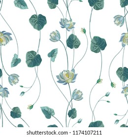 Trendy floral background with lotus flower and green leaves in hand drawn style. Blooming botanical motifs scattered random. Vector seamless pattern of lily, waterlily on white.