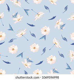 Trendy floral background with wild flowers and leaves in hand drawn style on light blue. Blooming botanical motifs scattered random. Vector seamless pattern for fashion prints.