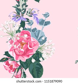Trendy floral background with wild rose, rosa canina dog rose garden flowers. Hand drawn style on pink backdrop. Blooming botanical motifs scattered random. Vector seamless pattern for prints.