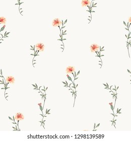 Trendy floral background with wild small flowers and leaves in hand drawn style on white. Blooming botanical motifs scattered random. Vector seamless pattern for fashion prints.