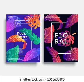 Trendy floral cover templates. Colorful tropic leaf patterns. Eps10 vector.