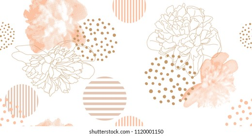 Trendy floral pattern in a halftone style. Seamless vector pattern with pink peony on a white background