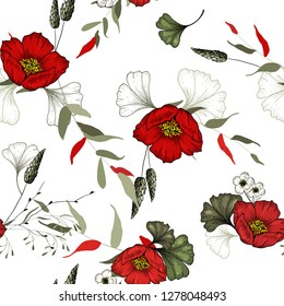 Trendy floral pattern. Isolated seamless pattern. Hand drawn. Vector illustration.