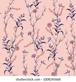 Trendy  Floral pattern in the many kind of flowers. Botanical  Motifs scattered random. Seamless vector texture.  For fashion prints. Printing  in hand drawn style on sweet pink background.