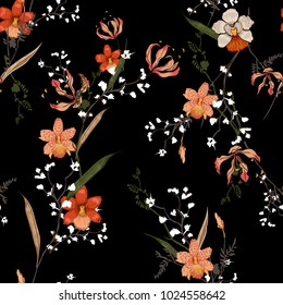 Trendy  Floral pattern in the many kind of flowers. Tropical botanical random. Seamless vector texture. For fashion prints. Printing with in hand drawn style on black background.