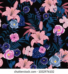 Trendy  Floral pattern in the many kind of flowers. Tropical botanical  Motifs scattered random. Seamless vector texture. Elegant  for fashion prints. Printing with in hand drawn style on dark