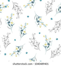 Trendy  Floral pattern in the many kind of flowers. Tropical botanical  Seamless vector texture. Elegant template for fashion prints. Printing with in hand drawn style White background.