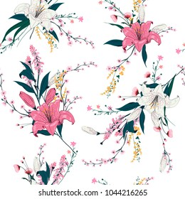 Trendy  Floral pattern in the many kind of flowers. Tropical botanical  Motifs scattered random. Seamless vector texture for fashion prints. Printing with in hand drawn style on white background.