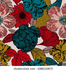 Trendy Floral pattern in the many kind of flowers. Botanical Motifs scattered random. Printing with in hand drawn style on white background.
