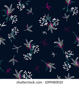 Trendy  Floral pattern in the many kind of flowers. Tropical botanical in line hand drawing, Seamless vector texture for fashion fabric on dark blue background.