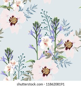 Trendy Floral pattern with the many kind of flowers. Tropical botanical Motives. Seamless vector texture. Printing in hand drawn style on the baby blue background.