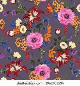 Trendy Floral pattern in the many kind of flowers. Tropical botanical Motifs scattered random. Seamless vector texture. Printing with in hand drawn style on dark purple  background.