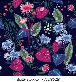 Trendy  Floral pattern in the many kind of flowers. Tropical botanical  Motifs scattered random. Seamless vector texture. hand drawn style.navy blue  background.