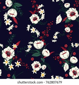 Trendy  Floral pattern in the many kind of flowers. Tropical botanical  Motifs scattered random. Seamless vector texture. Printing with in hand drawn style.Navy blue background.