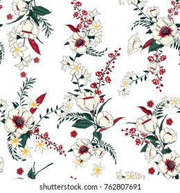 Trendy  Floral pattern in the many kind of flowers. Tropical botanical  Motifs scattered random. Seamless vector texture. Printing with in hand drawn style.white background