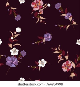 Trendy  Floral pattern in the many kind of flowers. Tropical botanical  Motifs scattered random. Seamless vector texture. Printing with in hand drawn style in dark purplr background.