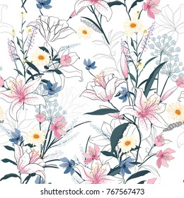 Trendy  Floral pattern in the many kind of flowers. Tropical botanical  Motifs scattered random. Seamless vector texture. Elegant template for fashion prints. Printing with in hand drawn style