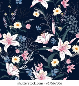 Trendy  Floral pattern in the many kind of flowers. Tropical botanical  Motifs scattered random. Seamless vector texture. Printing with in hand drawn style on dark background.