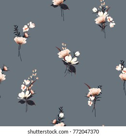 Trendy  Floral pattern in the many kind of flowers. Botanical  Motifs scattered random. Seamless vector texture  for fashion prints. Printing with in hand drawn style on grey color  background.