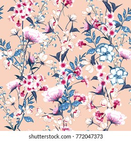 Trendy  Floral pattern in the many kind of flowers. Botanical  Motifs scattered random. Seamless vector texture. For fashion prints. Printing with in hand drawn style on pink background.