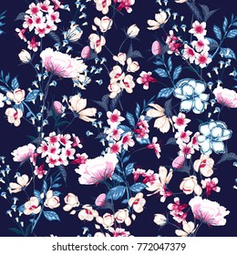Trendy  Floral pattern in the many kind of flowers. Botanical  Motifs scattered random. Seamless vector texture.For fashion prints. Printing with in hand drawn style on navy blue  background.