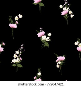 Trendy  Floral pattern in the many kind of flowers. Botanical  Motifs scattered random. Seamless vector texture  for fashion prints. Printing with in hand drawn style on darl black background.