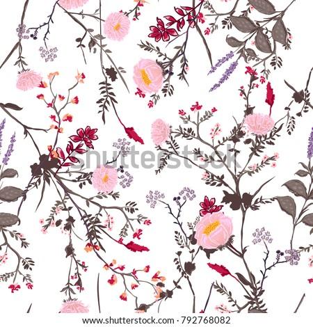 trendy floral pattern many kind flowers のベクター画像素材