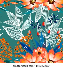193e7131f Trendy floral pattern with orange flowers and beautiful leaves. Colourful  seamless texture with exotic tropical