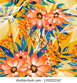 Trendy floral pattern with orange flowers and beautiful leaves. Colourful seamless texture with exotic tropical flowers and little summer berries.