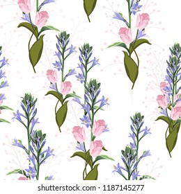 Trendy Floral pattern with pink tulips and violet bels flowers. Tropical botanical Motives. Seamless vector texture. Printing in hand drawn style on the white background.