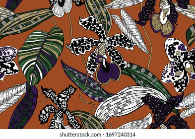 Trendy Floral pattern. Wild orchids.Tropical botanical Motifs. Seamless vector pattern. Printing with in hand drawn style. Textile design.