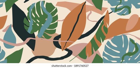 Trendy floral seamless pattern, botanical background