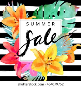 """Trendy floral vector template. Summer flowers  and """"Summer sale"""" lettering  illustration. Tropical leaves and exotic flowers texture on striped background."""