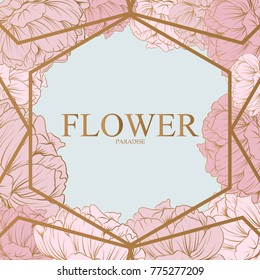 Trendy Flower Vector Design. Pastel peony with golden abstract background.