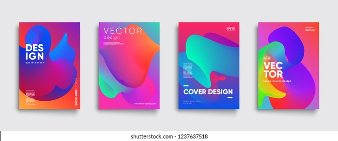 Trendy fluid covers set. Cool gradient shapes composition. Eps10 vector.